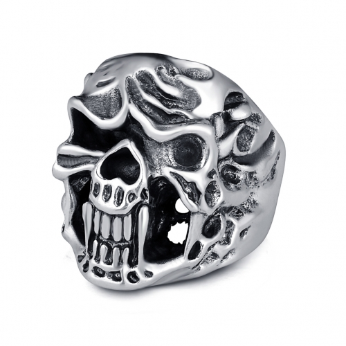 Hottest Rock Roll kpop Silver Gothic Punk Evil Skull Big Adjustable Rotating Bikers Bible Rings Men's & Boys' Jewelry