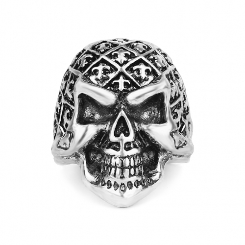 Graduation Kpop Hip Hop Rock Silver Large Adjustable Size Cross Skull Biker Couple Rings Wholesale Party Jewelry Accessories